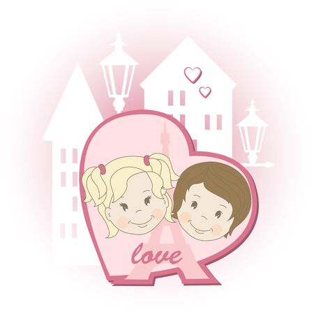 Romantic couple of lovers on urban background, vector illustration Vector