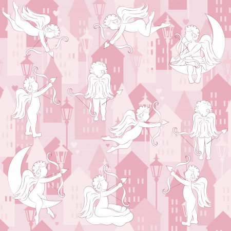 cupido: Sweet Home seamless pattern with cupid, vector illustration