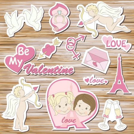 Happy valentine s day, set on a wood background Stock Vector - 17453510