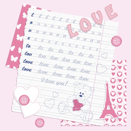 Valentines dayscrapbooking card, hand drawn Vector
