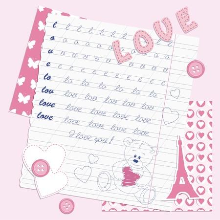 school days: Valentines dayscrapbooking card, hand drawn Illustration