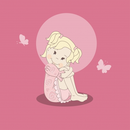 Cute little girl sitting, hand drawing illustration on pink background Vector
