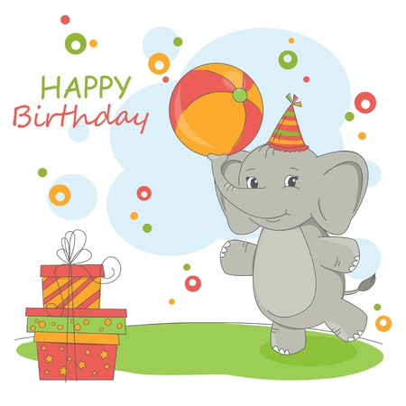 Happy Birthday card . Colorful illustration with cute elephant and gift. Stock Vector - 17596487