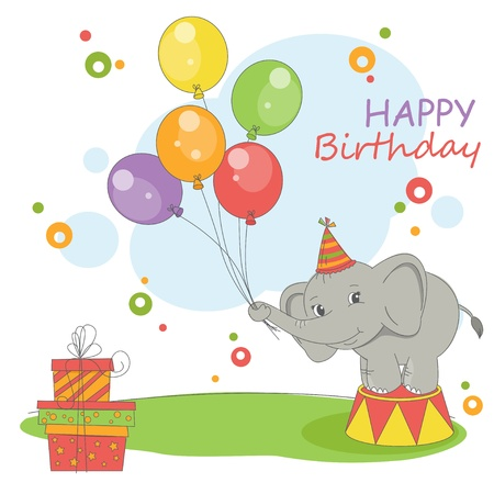 Happy Birthday card . Colorful illustration with cute elephant , balloons and gift.  Vector