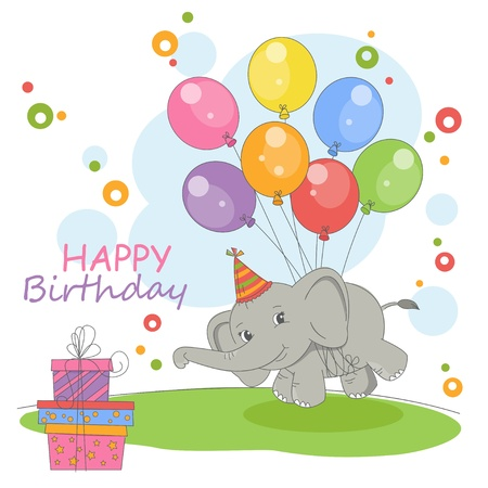 balloon girl: Happy Birthday card . Colorful illustration with cute flying elephant  on a balloons and gift. Illustration