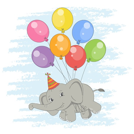 Happy Birthday card . Colorful illustration with cute flying elephant  on a balloons .  Vector
