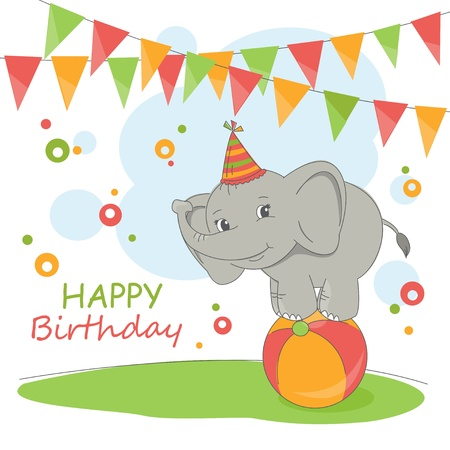 head tag: Happy Birthday card . Colorful illustration with cute elephant and garland.
