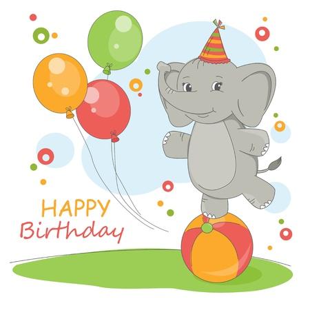 Buon compleanno. Illustrazione colorato con elefante carino e palloncini. Archivio Fotografico - 17596485