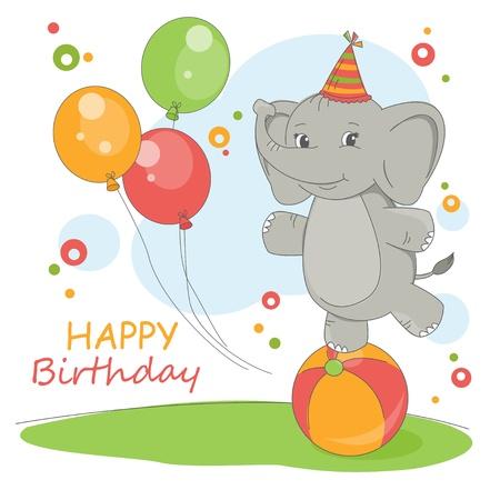 Happy Birthday . Colorful illustration with cute elephant and balloons.