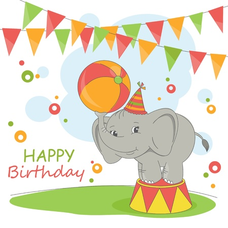 Happy Birthday card . Colorful illustration with cute elephant and garland. Vector