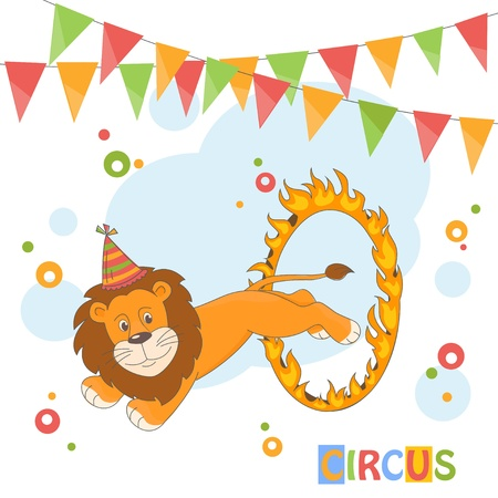 fire ring: Feliz Cumplea�os. Ilustraci�n del vector del le�n del circo saltando a trav�s de un anillo de fuego.