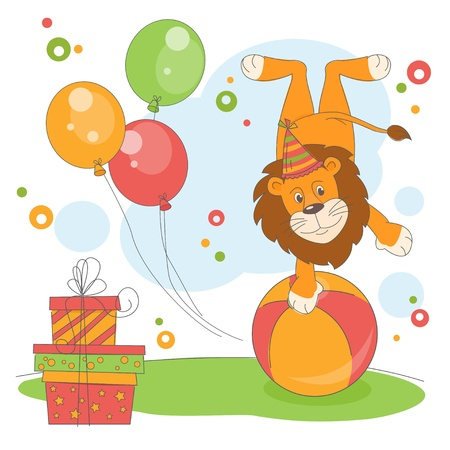 Happy Birthday. Vector illustration of lion  join the circus