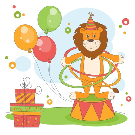 Happy Birthday. Vector illustration of  lion playing hula hoop. Vector