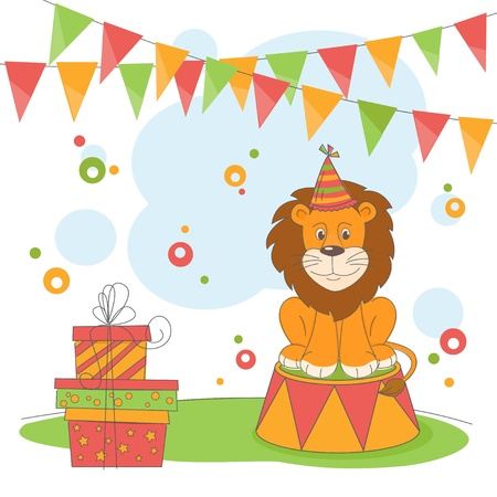 Happy Birthday. Vector illustration of  lion and garland of flags