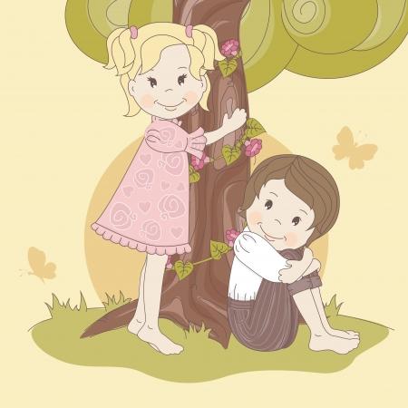 teenage girl happy: Couple  teens under tree   Vector illustration