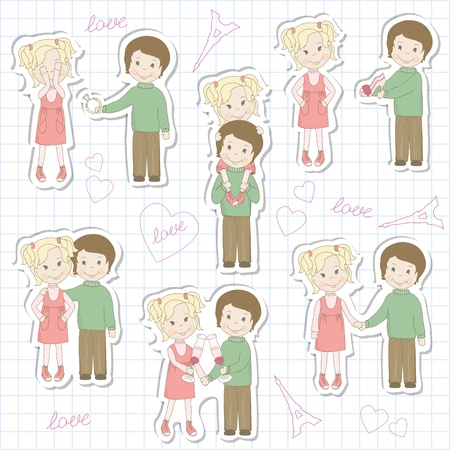 kiss couple: Set of couple teens on sheet of school notebook  Vector illustration Illustration