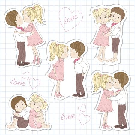 enamorados caricatura: Ajuste de los adolescentes par en la hoja de ilustración vectorial escuela notebook Vectores