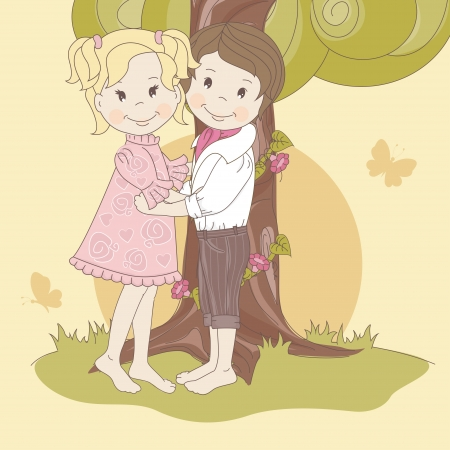 Couple  teens under tree   Vector illustration  Vector