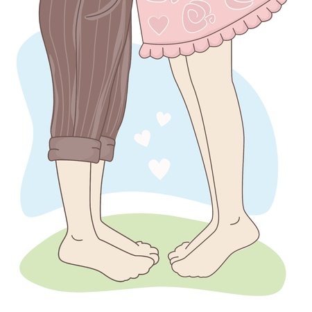 teenage couple: Happy Valentine s Day  Kissing couple  Hand drawing illustration