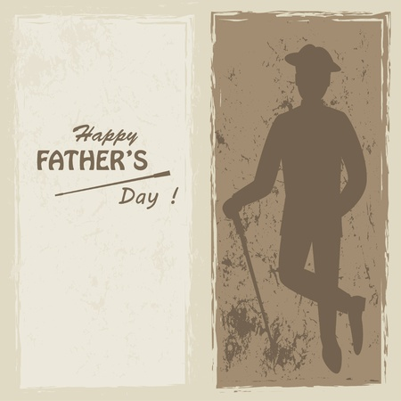 bowler hats: Happy Father s day   Retro vector illustration of silhouette elegant man with stick and text and text