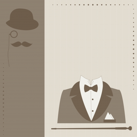 Happy Father s day   Retro vector illustration of bowler, mustaches, elegant suit, stick , monocle and text Stock Illustratie