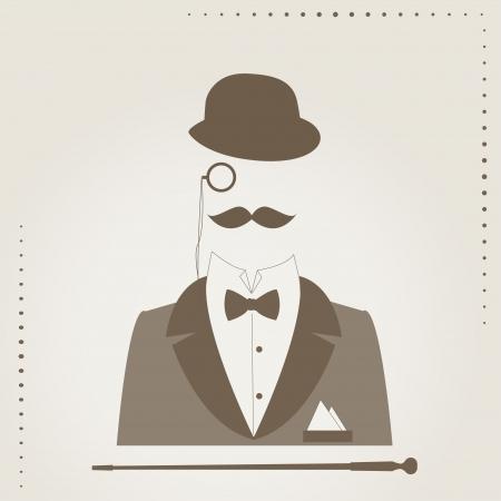 Disegno a mano illustrazione di di bombetta, baffi, bastone, abito elegante, monocolo e una cravatta a farfalla