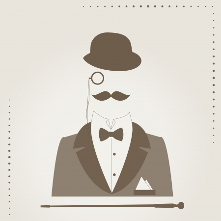 suit and tie: Hand drawing illustration of of bowler, mustaches, stick, elegant suit,  monocle and a bow tie