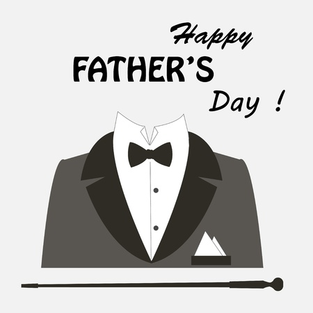 father s day: Happy Father s day   Retro vector illustration of elegant man suit and text
