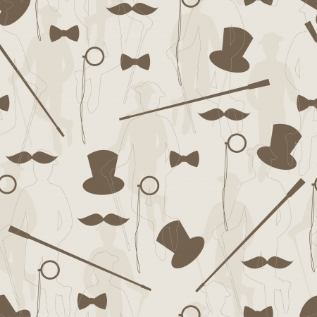 birthday suit: Retro seamless pattern for man  Silhouette of bowler, mustaches, stick,  monocle and a bow tie    Hand drawing illustration