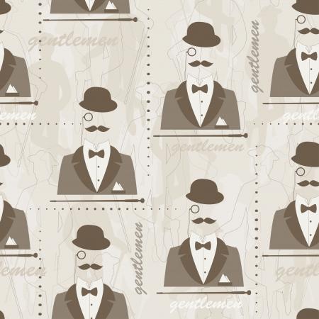 imposing: Retro reticolo senza giunte per l'uomo Silhouette di bombetta, baffi, bastone, vestito, monocolo e un papillon a mano disegno illustrazione Vettoriali
