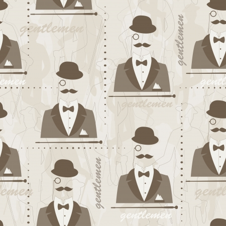 Retro seamless pattern for man  Silhouette of bowler, mustaches, stick, suit,  monocle and a bow tie   Hand drawing illustration  Vector