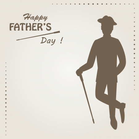 Happy Father s day   Retro vector illustration of silhouette elegant man with stick and text and text Vector