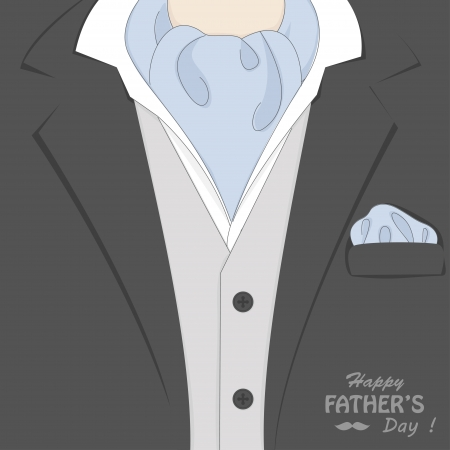 Happy Father s day   Retro vector illustration of elegant man suit and stylish neckerchief Vector