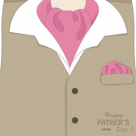 kerchief: Happy Father s day   Retro vector illustration of elegant man suit and stylish neckerchief Illustration