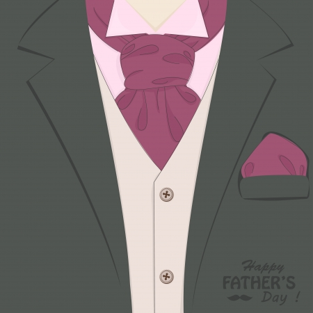 Happy Father s day   Retro vector illustration of elegant man suit and stylish neckerchief Illustration