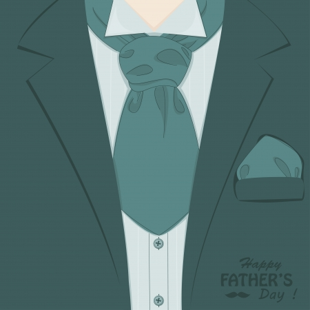 birthday suit: Happy Father s day   Retro vector illustration of elegant man suit and stylish neckerchief Illustration