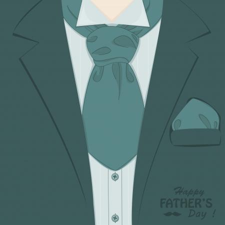 Happy Father s day   Retro vector illustration of elegant man suit and stylish neckerchief Illustration