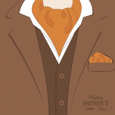 Padre Felice s giorno Retro illustrazione vettoriale di elegante tuta uomo e moda foulard