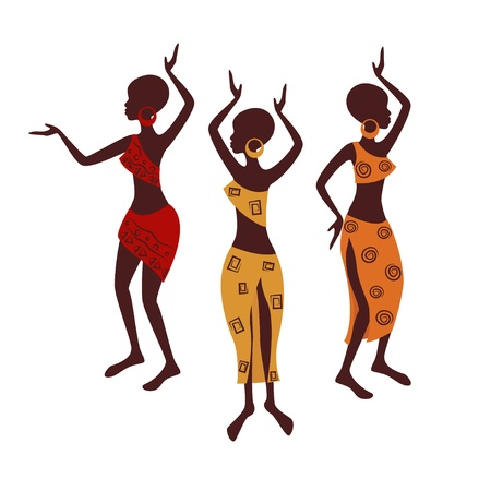 Beautiful ethnic women traditionally dancing  Vector illustration isolated on white background  Vector