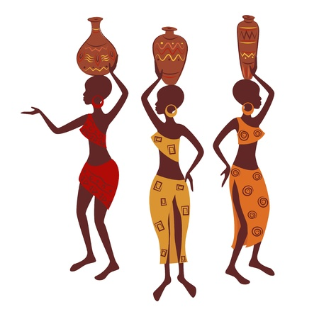 Donna etnica con vasellame vettoriale illustrazione isolato su sfondo bianco Archivio Fotografico - 18095730
