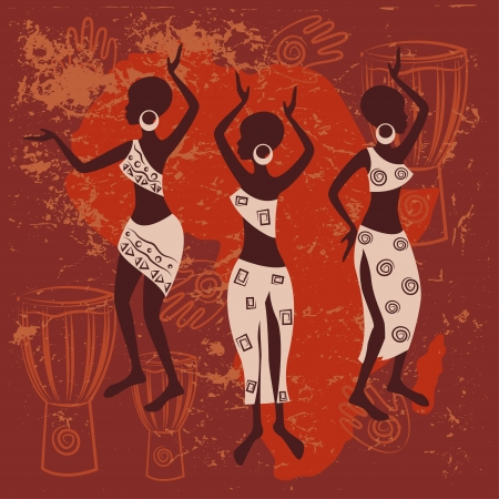 African design  Beautiful ethnic women traditionally dancing  Stock Vector - 18095738