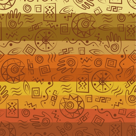 Tribal art  African style seamless pattern with  ancient tribal symbols of colorful striped background Çizim