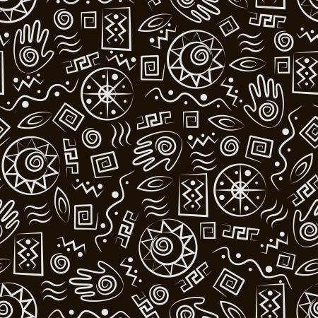 tribali: Arte tribale africana stile seamless con antichi simboli a sfondo nero