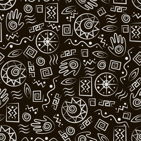 Tribal art  African style seamless pattern with  ancient  symbols of black background Çizim