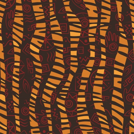 tribe: African style seamless pattern with wild animals skins and ancient tribal symbols