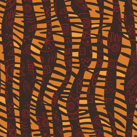 tribu: Patr�n de estilo africano perfecta con pieles de animales salvajes y los antiguos s�mbolos tribales