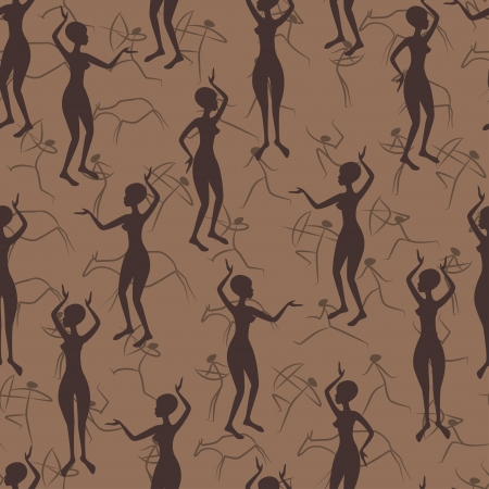 African seamless pattern with  silhouette dancing women Vector
