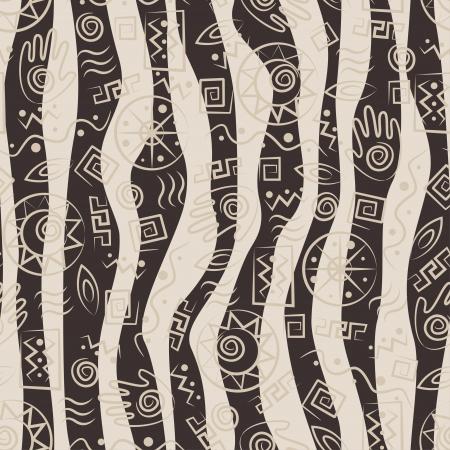 African style seamless con antichi simboli tribali di onde di sfondo Archivio Fotografico - 18095740