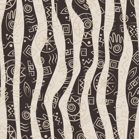 African style seamless pattern with  ancient tribal symbols of waves background
