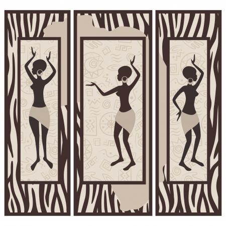 danza africana: Immagine vettoriale di donna African American ballare sulla pelle di zebra sfondo Trittico